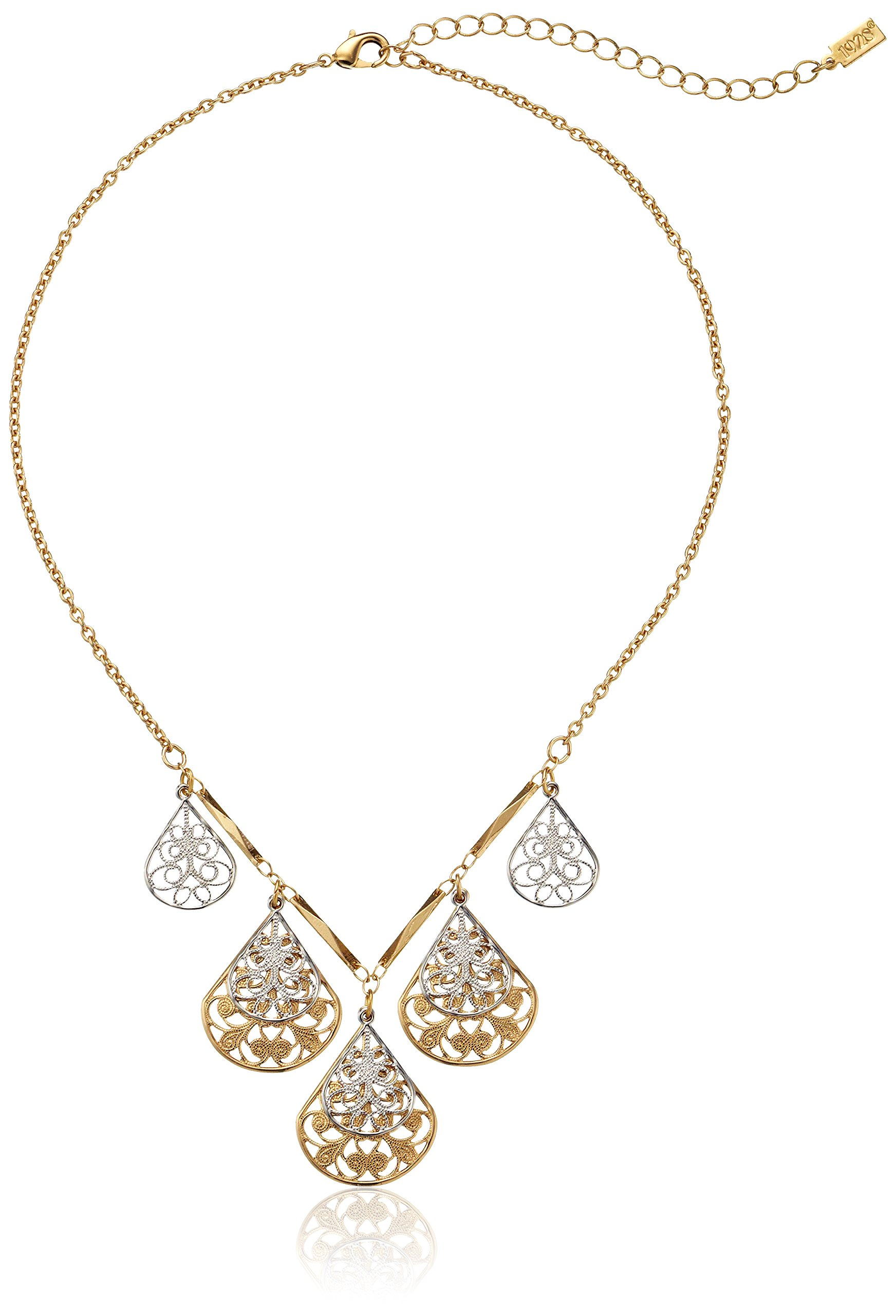 1928 Jewelry Gold and Silver-Tone Filigree Teardrop Collar Adjustable Necklace, 16''