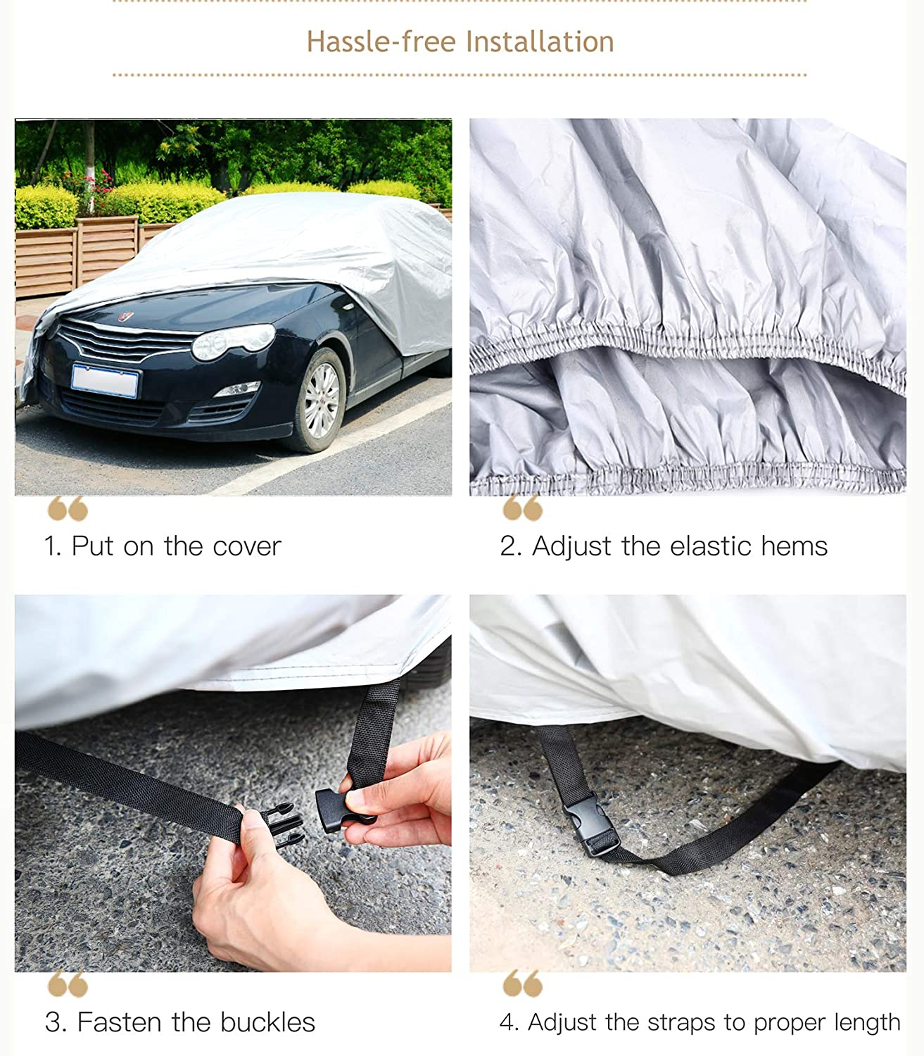 Sedan Auto Vehicle Cover Windproof Dustproof Scratch Resistant Outdoor UV Protection Universal Full Size Car Covers for Sedan L 191-201 Ohuhu Waterproof Outdoor Car Covers