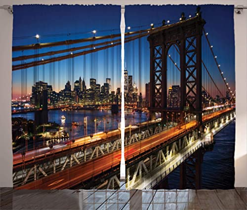 Ambesonne NYC Curtains, Sunset at Brooklyn Bridge River Famous Touristic Attractions Large Modern, Living Room Bedroom Window Drapes 2 Panel Set, 108 X 84 , Dark Orange Night Blue