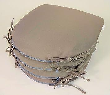 Stuhlkissen 40 x 40 x 4 cm Sitzkissen mit Schleife anthrazit