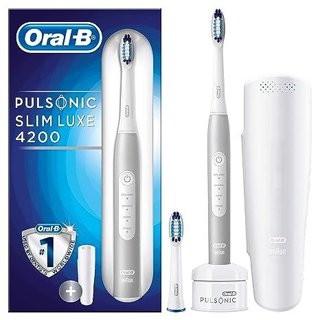 Oral-B Pulsonic Slim Luxe 4200 Elektrische Schallzahnbürste für gesünderes Zahnfleisch in 4 Wochen, mit Timer, 2 Aufsteckbürs