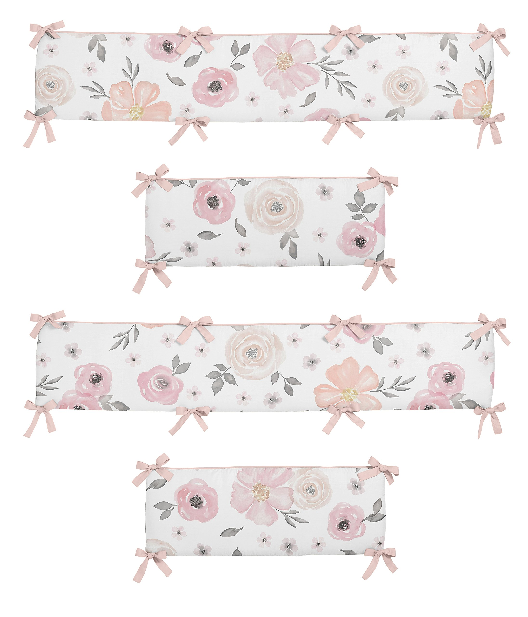 Sweet JoJo Designs Blush Pink, Grey and White Baby Crib Bumper Pad for Watercolor Floral Collection Rose Flower