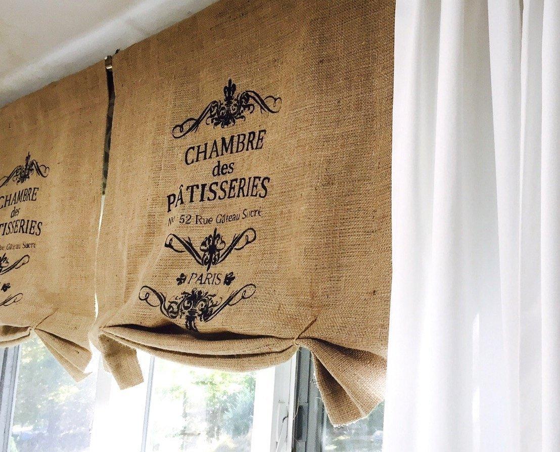 Chambre des Patisseries Burlap Window Curtain Valance