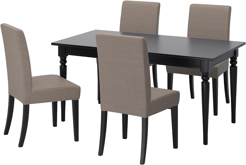 ZigZag Trading Ltd IKEA Ingatorp/Henriksdal – Mesa y 4 sillas Negro/Nolhaga Color Gris: Amazon.es: Hogar