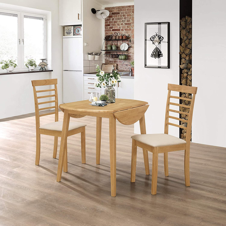 Hallowood Ledbury Small Solid Wooden Drop Leaf Round Dining Table And 2 Chairs Set Rubberwood Light Oak Finish Leb Rtab920 Set 2 L Amazon Co Uk Kitchen Home