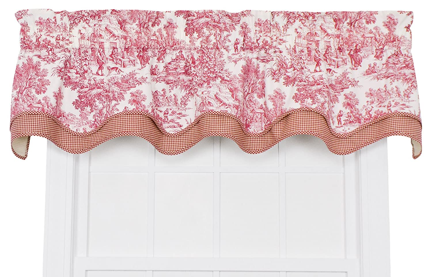 Victoria Park Toile Bradford Valence Window Curtain, Red