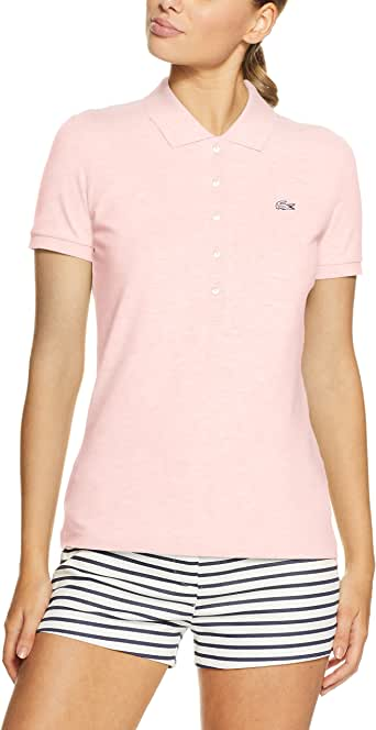 Lacoste Women 5 Button Slim Stretch Core Polo, Flamingo, 36F (AU 8)