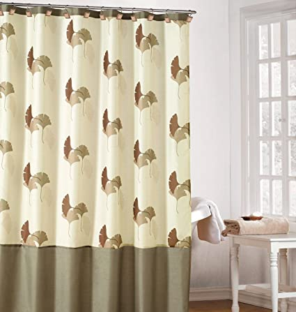 Amazon Earthy Cream Color Fabric Shower Curtain With Brown And