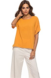 cc1028af889 Prior Jms Women s Linen T-Shirt Blouse Casual Loose Long Sleeve Tops Cotton