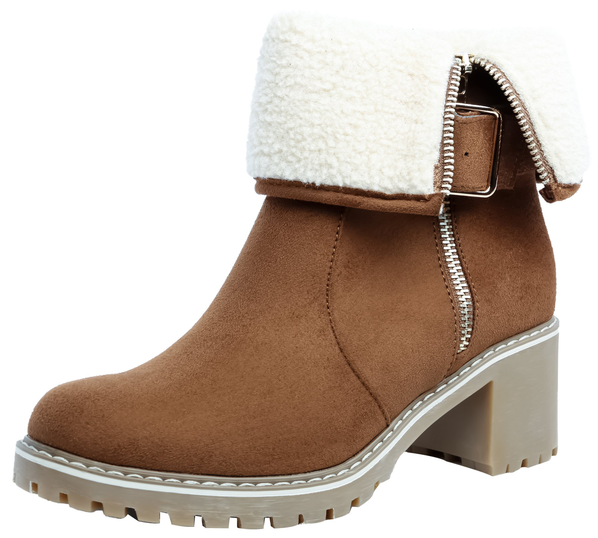 SHENBO Women's Winter Boots Fold Faux Shearling Trim Ankle Bootie(8,Camel)