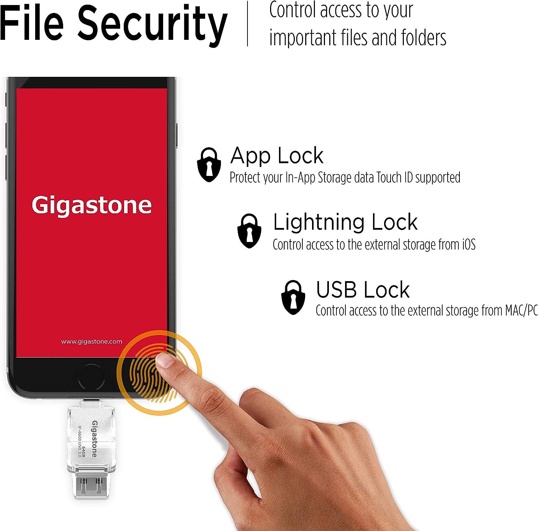 iFlashDrive iOS iPad PC Mac Windows Linux OTG High Speed Gigastone USB 3.0 128GB Flash Drive for iPhone Backup Facebook Instagram Dropbox Apple MFi Certified Lightning Easy Multi Function App