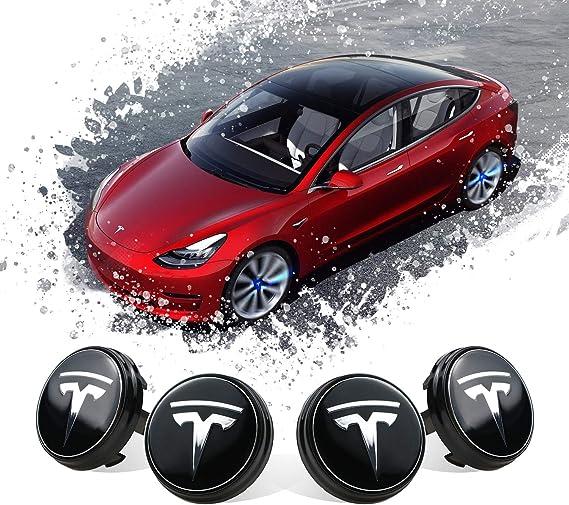 Cache-moyeu Cache-moyeu Topfit Cache-moyeux de Roue de Voiture avec LED Bleue kit de Cache-moyeu pour Tesla mod/èle 3 Cache-moyeu Cache-moyeu