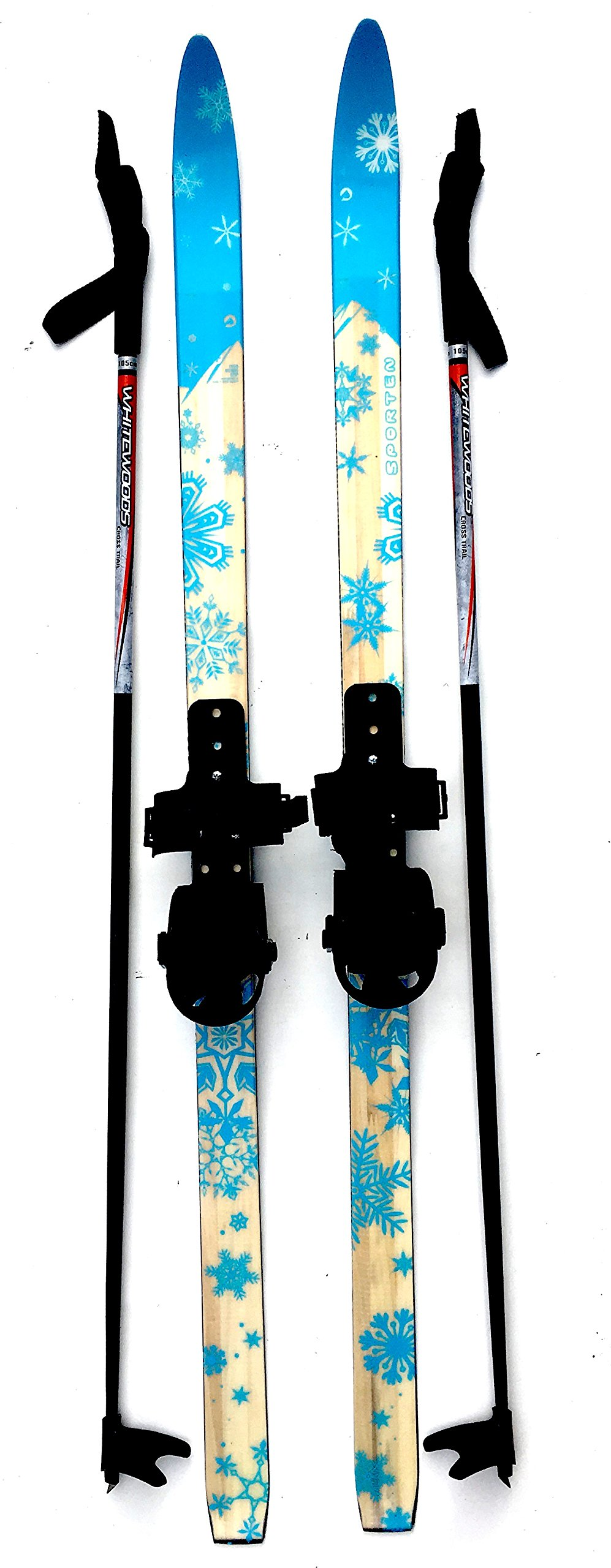 Sporten Second Step Beginner Kids Junior Cross Country Skis 120cm Adjustable Universal Bindings Poles by sporten