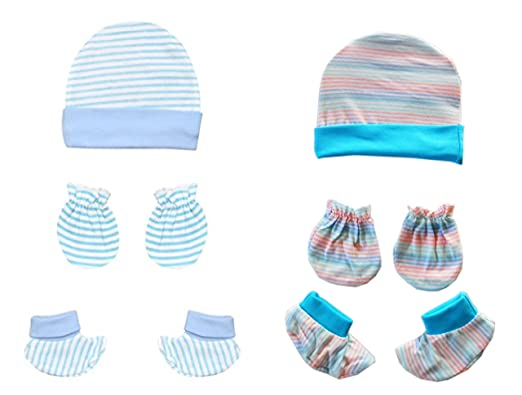 004c2cc3dc8 NammaBaby Baby Cotton Caps Mittens Booties Stripe Set (0-4 Months ...