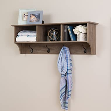 Prepac 48  Wide Hanging Entryway Shelf, 48 inches, Drifted Gray