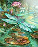 DIY 5D Diamond Painting by Number Kits, Full Drill Crystal Rhinestone Embroidery Pictures Arts Craft for Home Wall Decor Gift - Dragonfly and Lotus 12x16inch