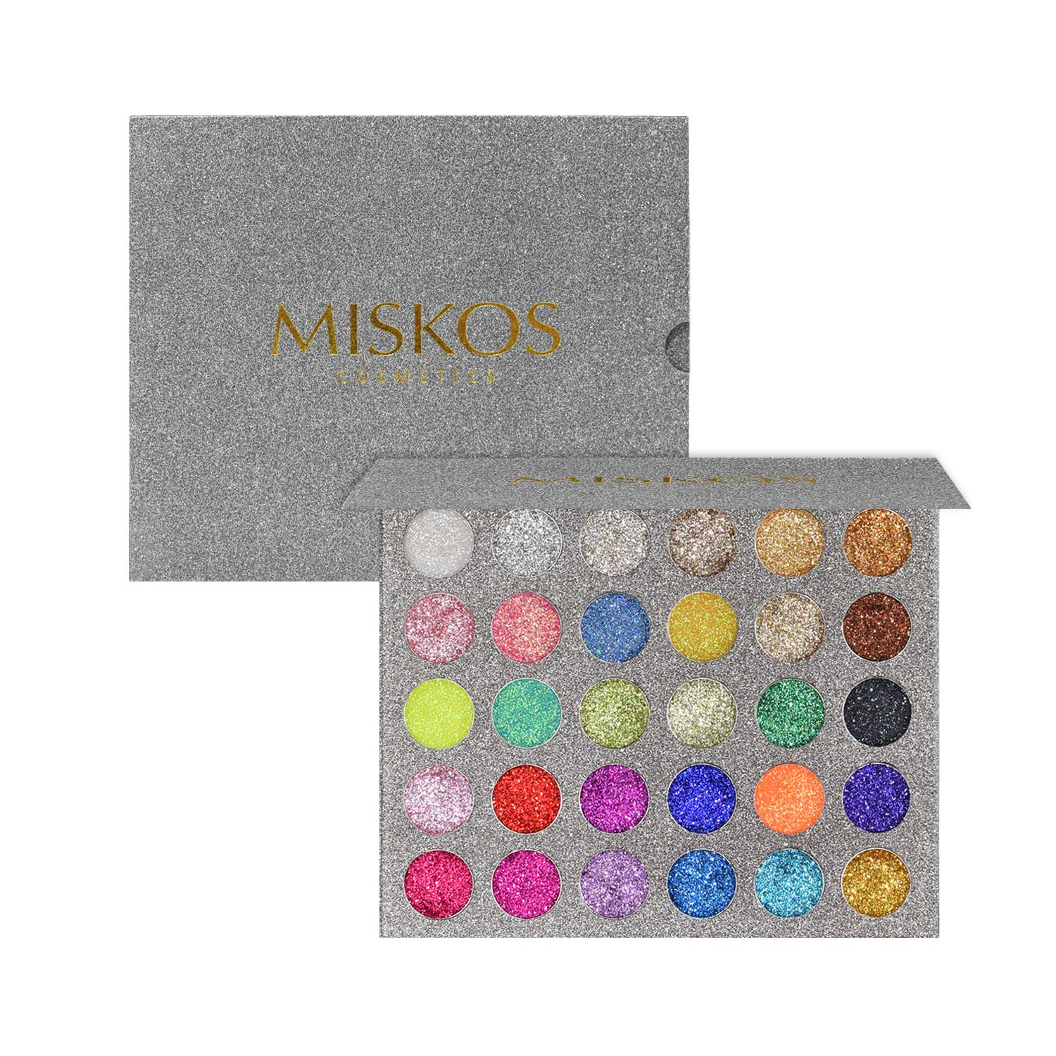 MISKOS Glitter Eyeshadow Pallet 30 Colors Highly Pigmented Mineral Foiled Long-Lasting Shimmer Powder Eye Shadow Palette Waterproof Makeup Kit