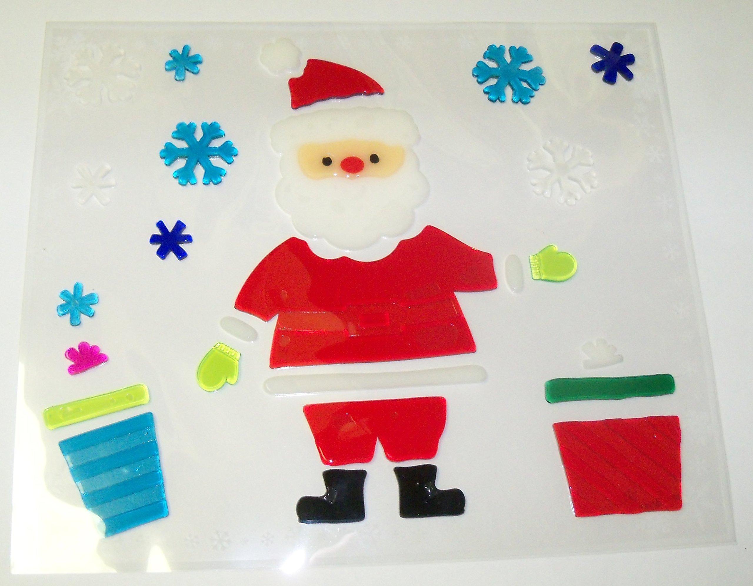 Impact Innovations Christmas Reusable Gel Window Clings ~ Santa, Presents, Multicolored Snowflakes (27 Clings, 1 Sheet)