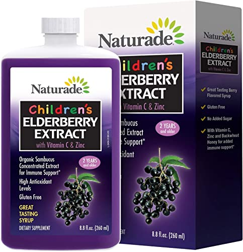Naturade Children's Elderberry Extract Syrup with Vitamin C Zinc, 8.8 fl oz 260 ml