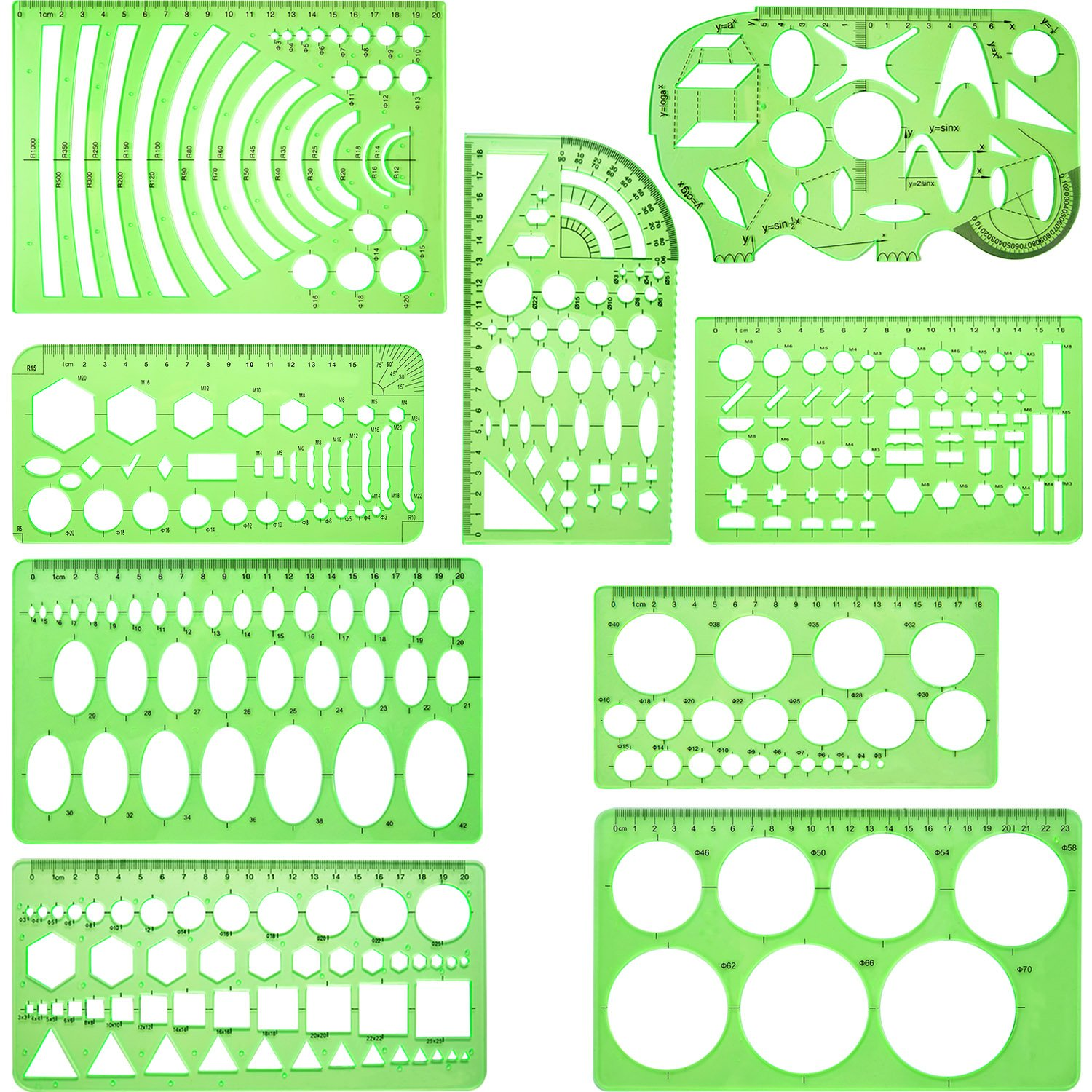 Hestya 9 Pieces Drawings Templates Measuring Geometric Rulers Plastic Draft Rulers for School Office Supplies, Clear Green 4336946843