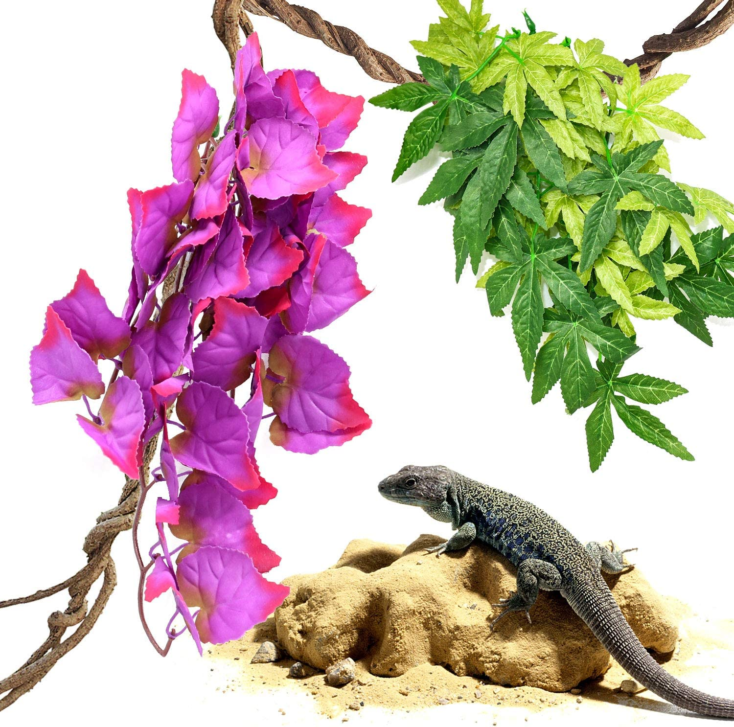 HYLYUN Reptile Plants 3 Packs Hanging Silk Terrarium Plant with Suction Cup for Bearded Dragons Lizards Geckos Snake Tank Decorations