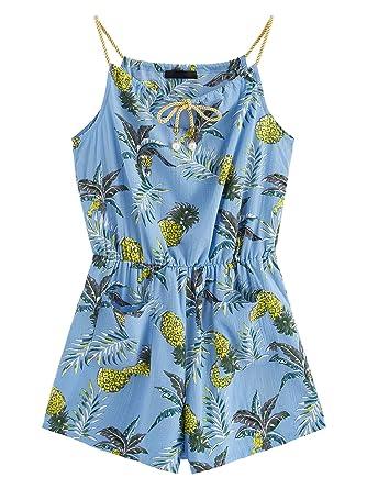 ec73c2d5f18 MAKEMECHIC Women s Sexy Strap Floral Print Summer Beach Party Romper  Jumpsuit Blue XS