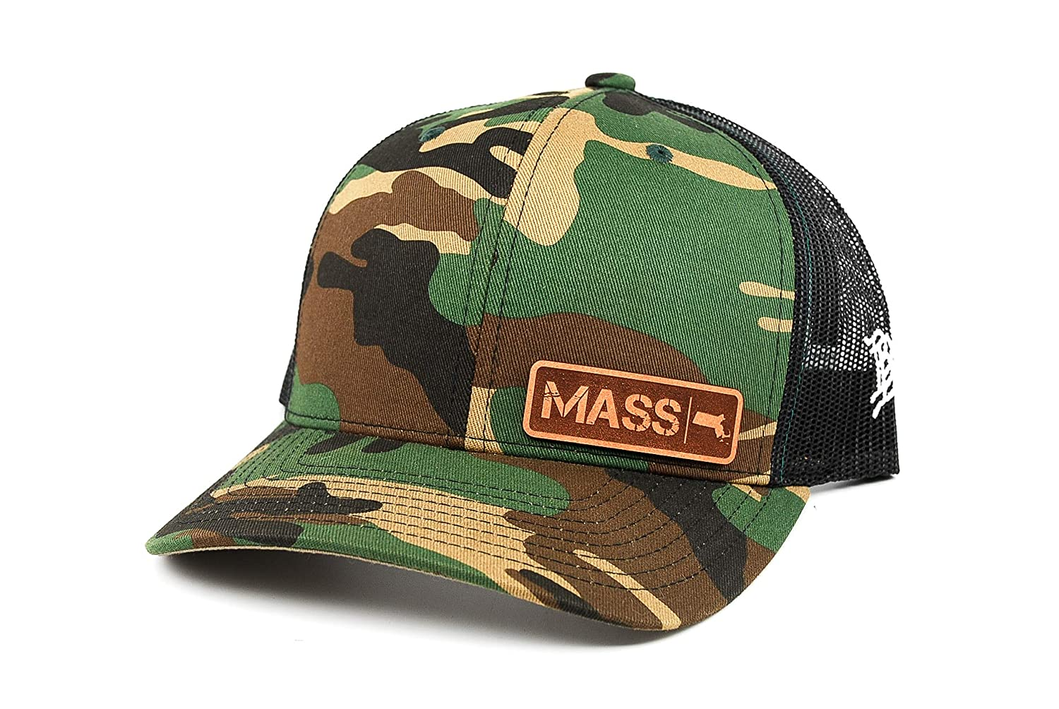Branded Bills /'Massachusetts Native Leather Patch Hat Curved Trucker OSFA//Camo