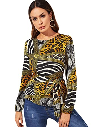 303040cd87083c Milumia Women's Round Neck Belted Waist Long Sleeves Floral Print Peplum  Top Multicolor-5 XS