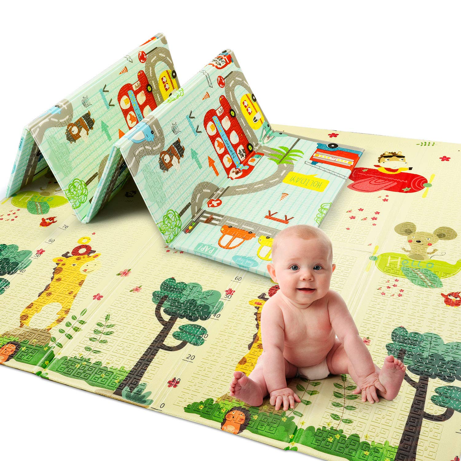 6 * 6.5 feet, Map//Fish UArtlines Folding Play Mat Extra Large Foam Thick Baby Crawling Mat Kids Playmat Reversible Portable Waterproof Non Toxic for Babies Infants and Toddlers