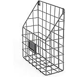 Wall File Holder Metal Mesh Wire Shelf Hanging Folder Mail Document Organizer Office Storage Black Rustic Industrial Design Black