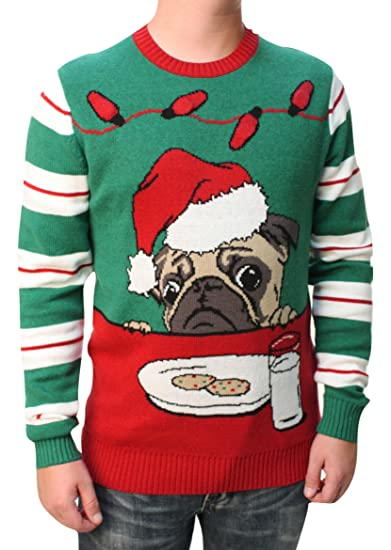 Ugly Christmas Sweater Cookies Pug Pour Hommes Light Up Sweatshirt