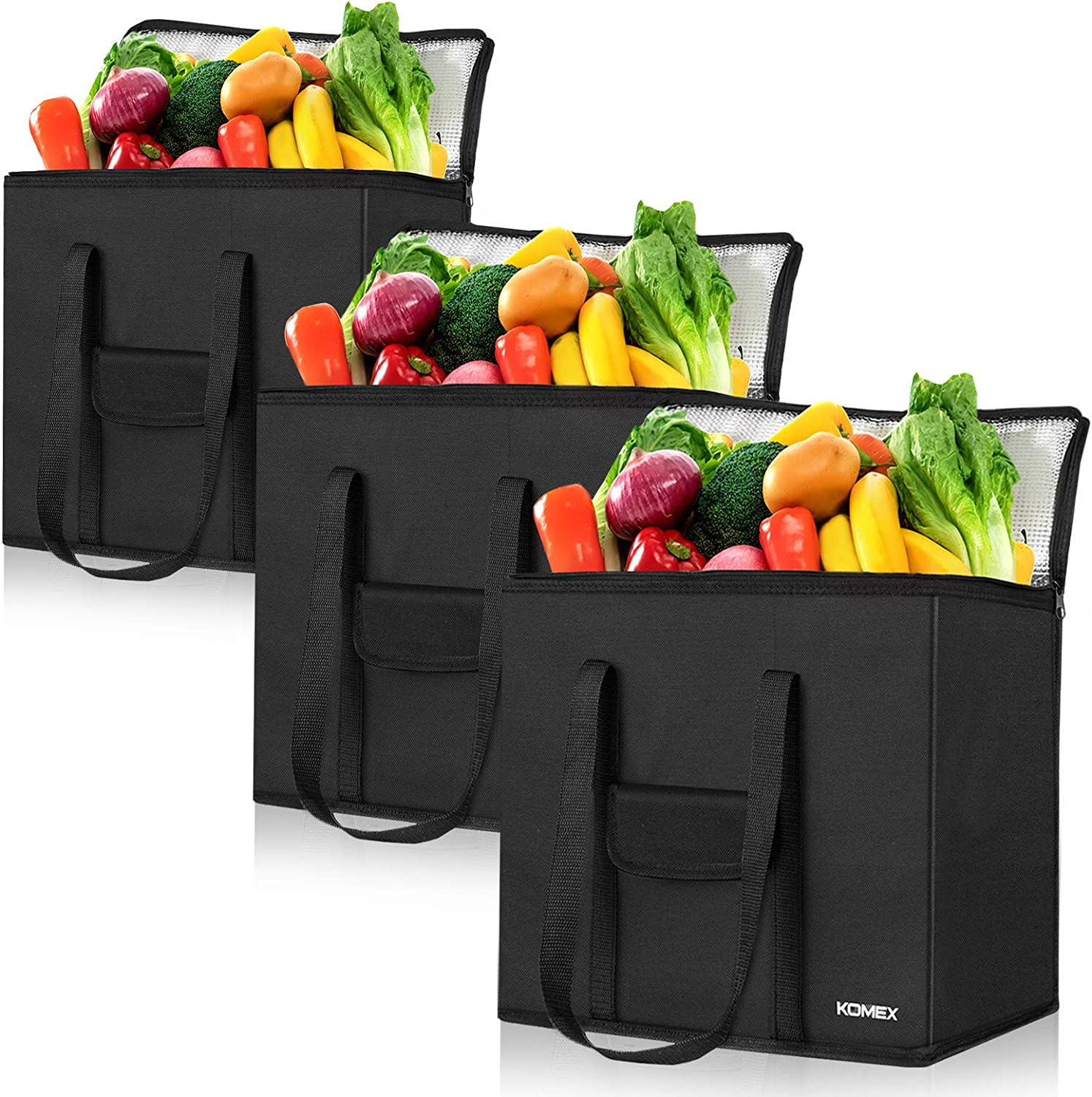 KOMEX Reusable Grocery Bags Foldable 3 Pack Shopping Bags With Sturdy Zippered