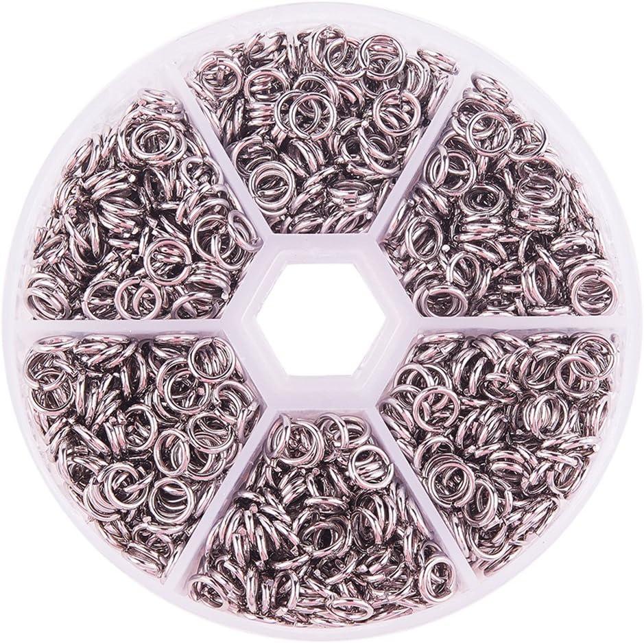 1 caja de argollas abiertas de acero inoxidable 304 de 6 mm para fabricación de joyas, de PandaHall Elite