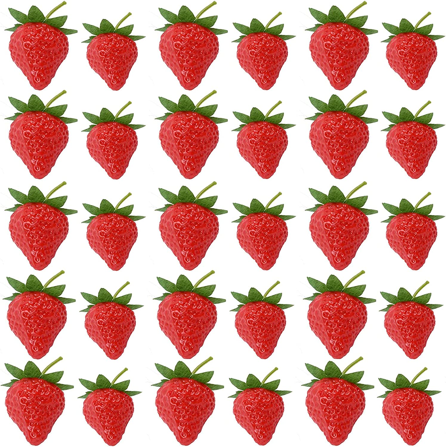 RONRONS 40 Pieces Artificial Strawberry Lifelike Fruit Plastic Red Fake Strawberries Arrangements Vase Fillers Display Photography Prop Decor Home Kitchen Cabinet Party Ornament Supplies, S & L