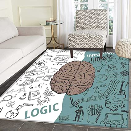 amazon com modern print area rug brain image with left and right