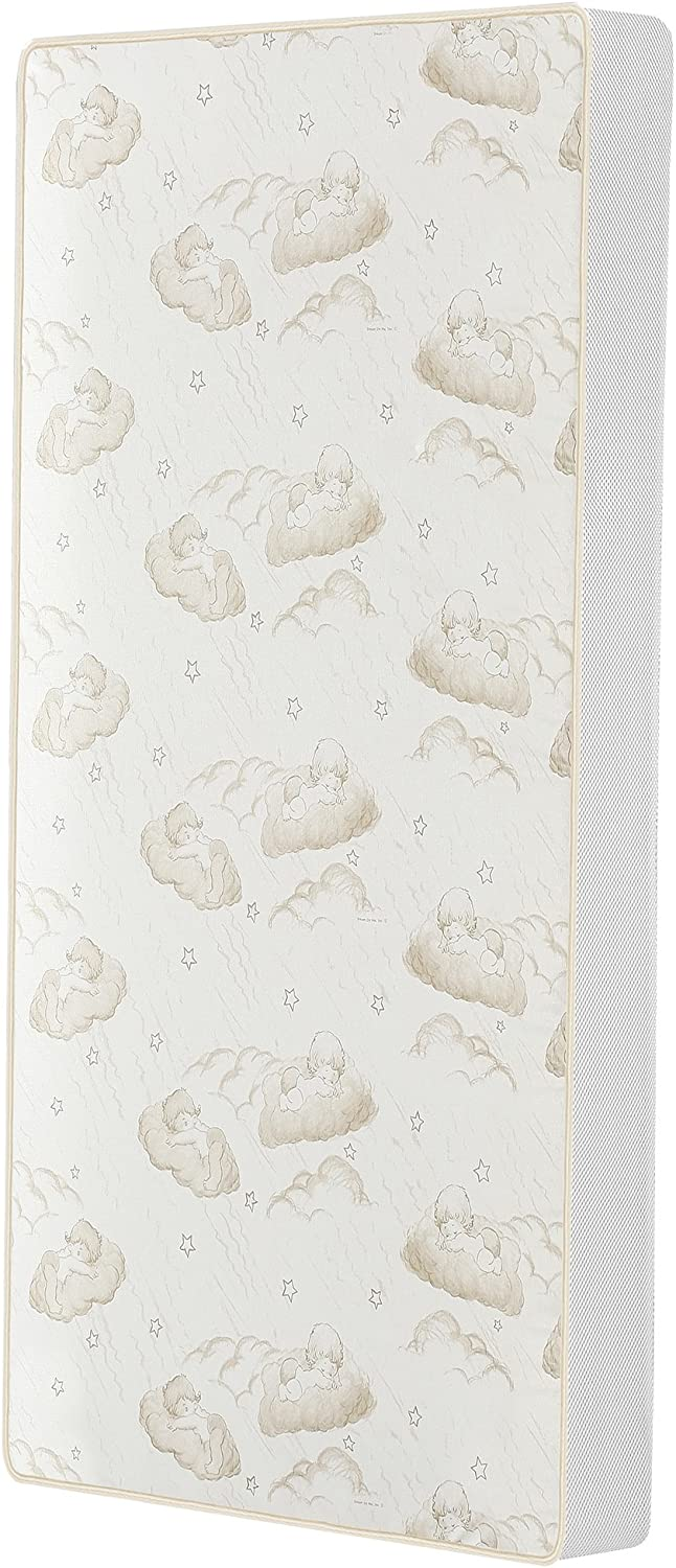 """Dream On Me 2-in-1 Breathable Twilight 5"""" Spring Coil Crib and Toddler Bed Mattress with Reversible Design in White/Brown"""