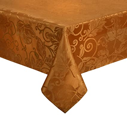 Etonnant Harvest Autumn Leaves Damask Tablecloth Easy Care Fabric (60 X 84  Rectangle/Oblong,
