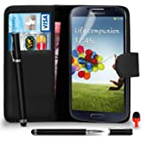 Samsung Galaxy S4 FITS Case - Premium Leather BLACK Wallet Flip Case Cover Pouch with 2 IN 1 Ball Pen Touch Stylus RED Dust Stopper Screen Protector & Polishing Cloth SVL6, (WALLET BLACK)