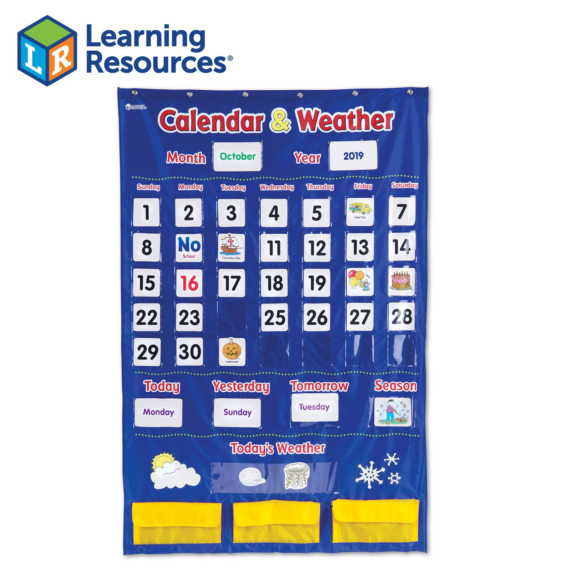 Learning Resources Calendar & Weather Pocket Chart, Classroom Organization, 136 Piece by Learning Resources