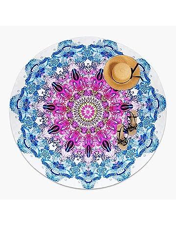 MOYA Life Toalla de Playa Redonda, Estilo Mandala Indio, Boho Hippie Tablecloth Beach Towel