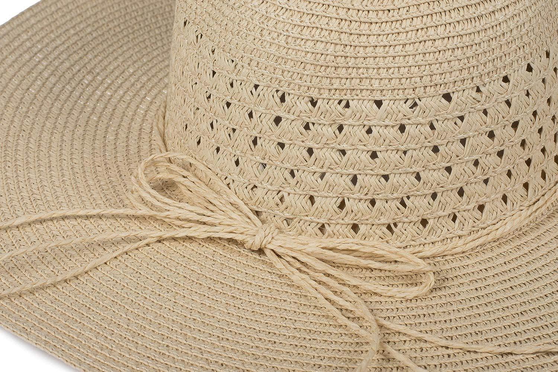 Schlapphut Hut 04025024 Strohhut styleBREAKER Damen Gro/ßer Sonnenhut mit d/ünnem Hutband und Schleife Sommerhut