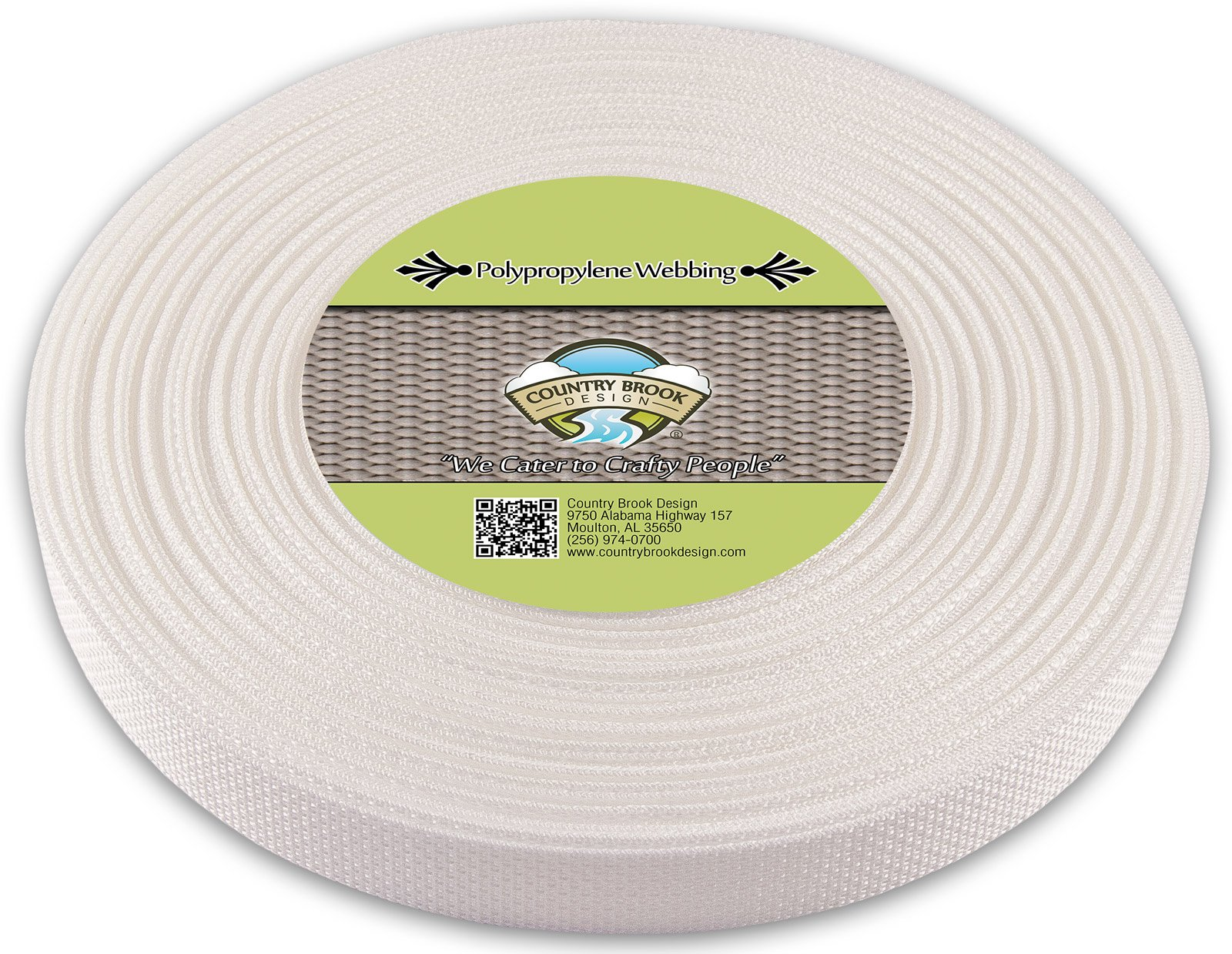 Country Brook Design | 1 Inch White Polypro Webbing, 25 Yards
