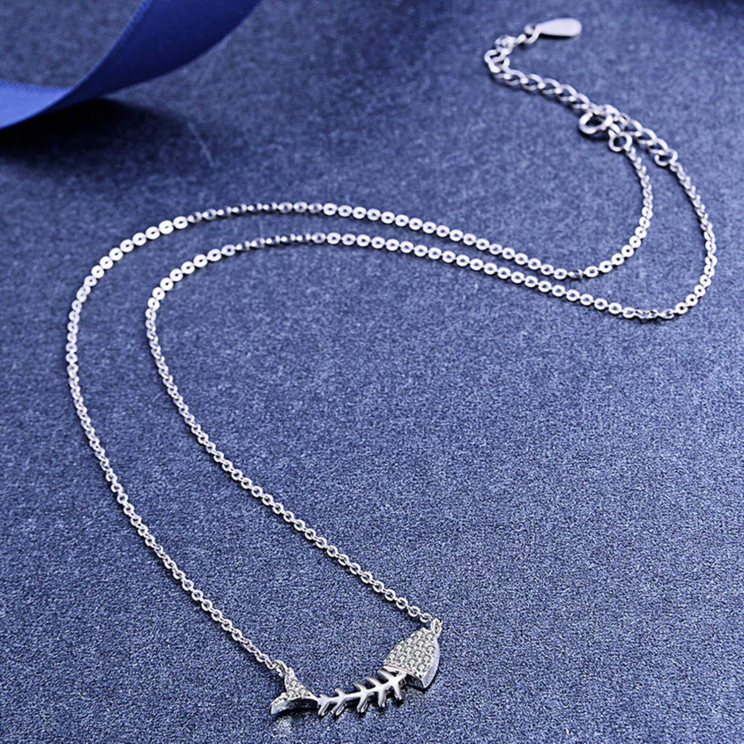 Aokarry 925 Sterling Silver Fish Bone Pendant Necklace for Women Silver