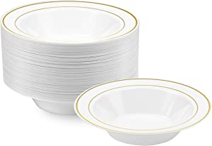 NYHI Plastic Disposable Soup Bowls (14 ounces) | Single Use Recyclable Dinnerware for Household, Restaurant, Weddings & Parties | BPA-free, Durable, Heat-Resistant Soup Plate & Salad Bowl | 50 Pack