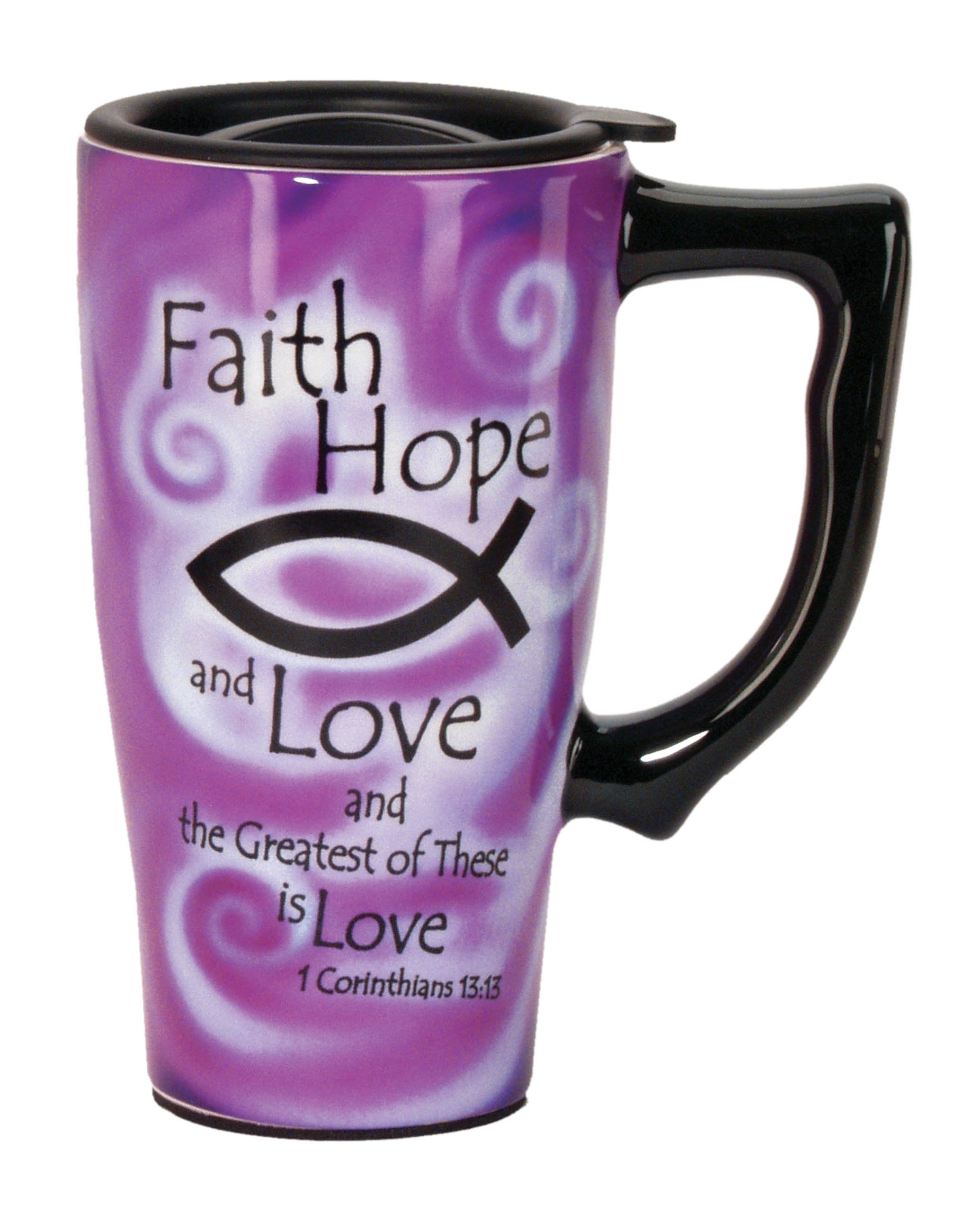 Spoontiques Faith Hop Love Travel Mug, Purple