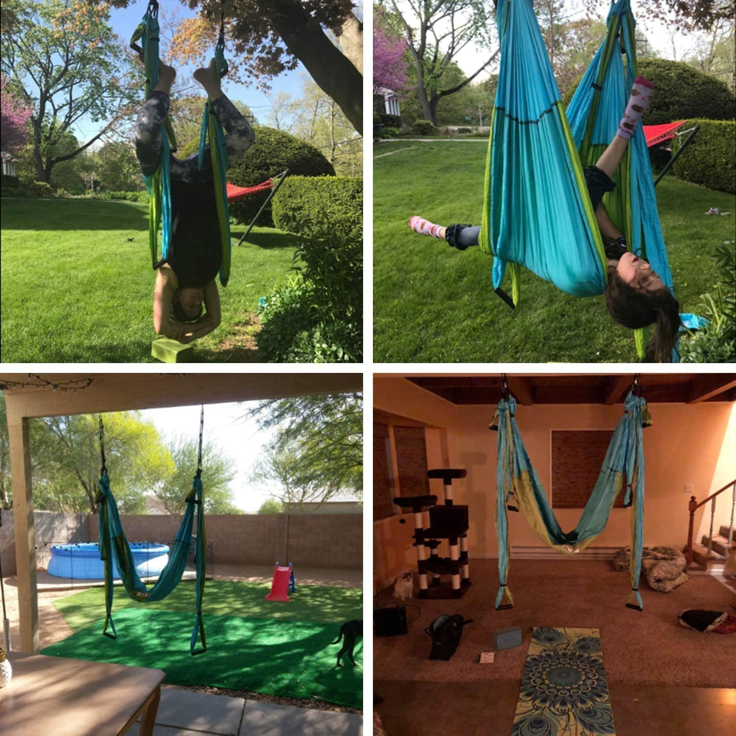 Yaesport Aerial Yoga Swing Set 2 Stainless Steel Ceiling Hooks and 8 Screws 2 Extensions Straps Ultra Strong Antigravity Yoga Hammock//Sling//Trapeze for Air Yoga Inversion Exercises