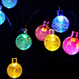 Globe Battery Operated String Lights with Timer, RECESKY 30 LED 16ft Waterproof Crystal Ball Decor Fairy Lighting for Outdoor Garden Patio Party Home Dorm Christmas Wreath Decorations (Multi Color)