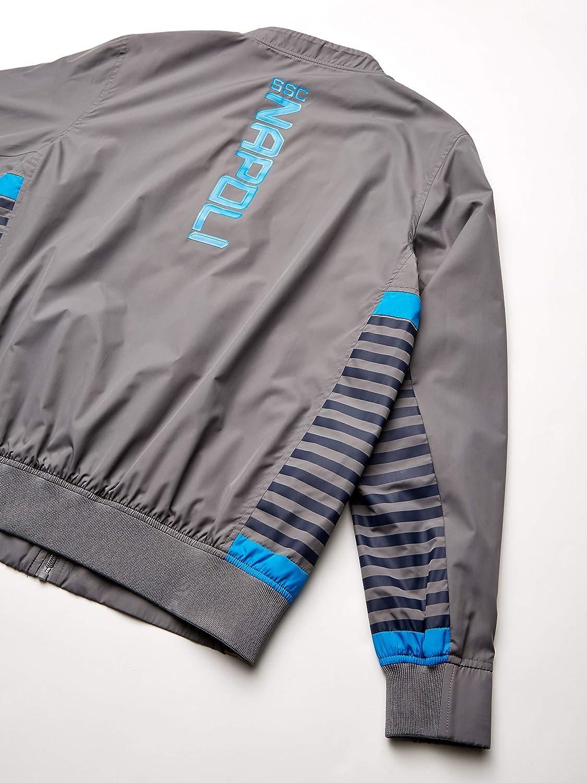L Grey Italian Serie A SSC NAPOLI Mens Full Zip Representation Sweatshirt Blue