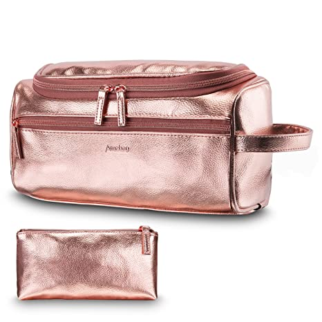 6bf2b4685c95 CoolBELL Leather Toiletry Bag Travel Toiletry Organizer Portable Hanging  Makeup Bag Dopp Kit   Shaving Cosmetic Bag for Men Women (Rose Gold)   Amazon.in  ...