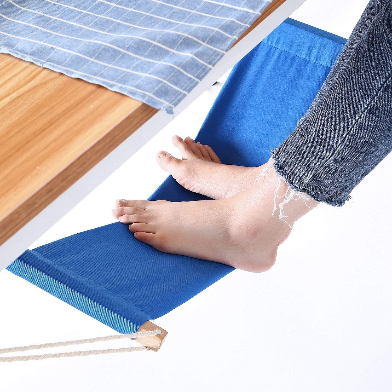 Yagote Foot Hammock Under Desk Footrest with Headphones Holder Upgraded Adjustable Feet Rest Prevent Swelling and Soreness for Office Desk Blue